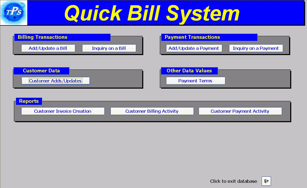 Click to view Quick Bill System screenshots