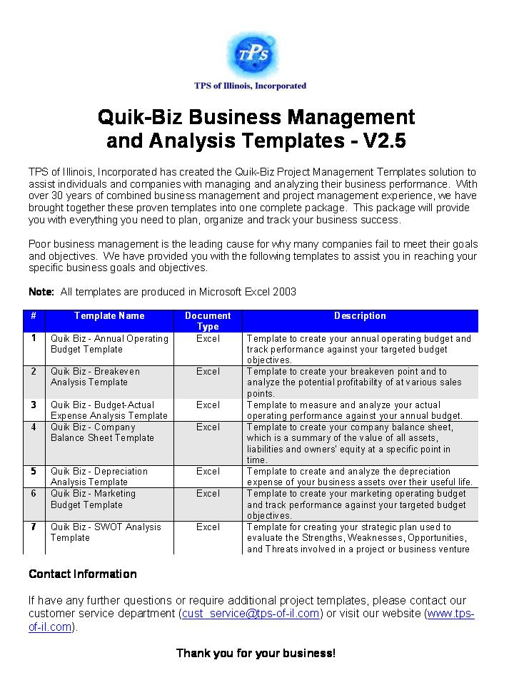Quik-Biz Bus Mngmnt & Analysis Templates